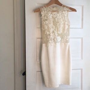 NastyGal white bodycon dress with floral appliqué